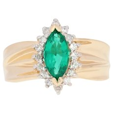 1.65ctw Marquise Cut Synthetic Emerald & Diamond Ring - 14k Yellow Gold Halo