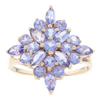 Yellow Gold Tanzanite Floral Cluster Cocktail Ring - 10k Marquise 2.50ctw Size 9