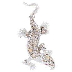 .79ctw Rose Cut Diamond & Ruby Lizard Brooch - 18k White Gold Milgrain Pin