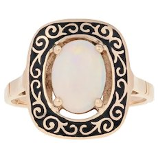 1.20ct Oval Cabochon Cut Opal Vintage Ring - 14k Gold Black Enamel Scrollwork