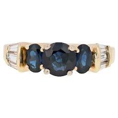 2.76ctw Round Cut Sapphire & Diamond Ring - 14k Yellow Gold Engagement