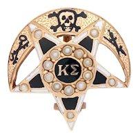 Kappa Sigma Badge - 14k Yellow Gold Seed Pearls 1900 Fraternity Pin