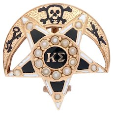 Kappa Sigma Badge - 14k Yellow Gold Seed Pearls 1900 Fraternity Pin