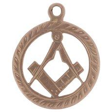 Antique Blue Lodge Pendant - 9k Gold Masonic Square & Compass