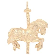 Carousel Horse Pendant - 14k Yellow Gold Etched Women's Gift