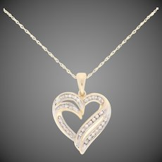 ".33ctw Single Cut Diamond Pendant Necklace 18 1/4"" - 14k Yellow Gold Heart"