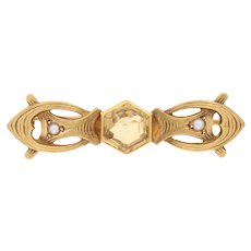 Yellow Gold Citrine & Half Pearl Art Nouveau Brooch - 18k Hexagon 2.00ct Antique