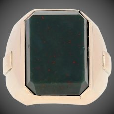 Bloodstone Vintage Men's Ring - 14k Yellow Gold Solitaire