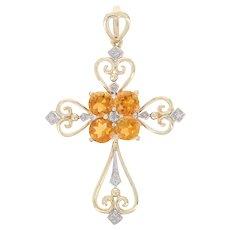Yellow Gold Citrine & Diamond Pendant - 10k Round Cut 1.62ctw Cross