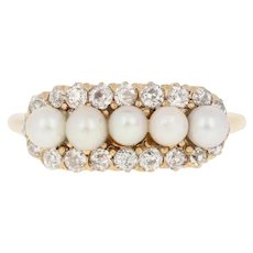 Cultured Pearl & Diamond Edwardian Ring -18k Yellow Gold Antique Mine Cut .56ctw