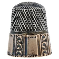 Vintage Sewing Thimble - Sterling Silver & 10k Yellow Gold Size 10