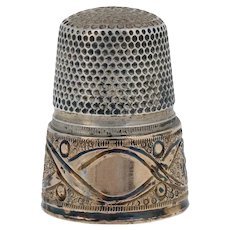 Engravable Vintage Sewing Thimble 800 Silver & 14k Yellow Gold Flowers & Ribbons