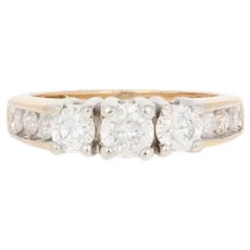 1.00ctw Round Brilliant Diamond Engagement Ring - 14k Gold Three-Stone w/Accents