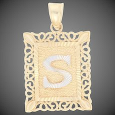 Initial S Pendant - 10k Yellow Gold Women's Monogram Letter