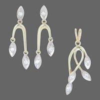 .61ctw Round Brilliant Diamond Earrings & Pendant Set - 18k Yellow Gold Leaves