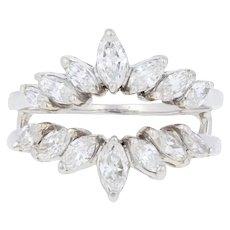 1.68ctw Marquise Cut Diamond Enhancer Wedding Band - 18k Gold Wrap Jacket Ring