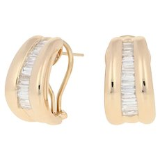 Yellow Gold Diamond Earrings - 14k Baguette Cut 1.50ctw Pierced J-Hoops