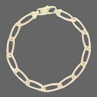 """Diamond Cut Oval Curb Chain Bracelet 8"""" - 14k Yellow Gold Lobster Claw Clasp"""