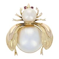 17mm Mabe Pearl, Pearl, & Ruby Insect Brooch - 14k Yellow Gold Pin