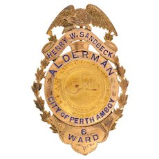 1910-1914 Alderman City Council Badge - 10k Gold Perth Amboy New Jersey Sandbeck