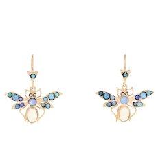 Cabochon Cut Opal & Marcasite Vintage Butterfly Earrings 14k Gold Pierced Dangle