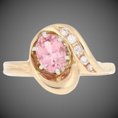 .94ctw Oval Brilliant Cut Tourmaline & Diamond Ring - 14k Yellow Gold Bypass