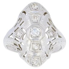 .16ctw Single Cut Diamond Art Deco Ring - 18k White Gold Women's Vintage