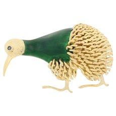 Corletto Yellow Gold Sapphire Brooch - 18k Green Enamel Vintage Kiwi Bird Pin