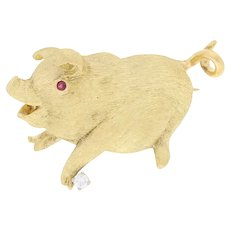 Yellow Gold Diamond & Ruby Pig Brooch - 18k Round Cut Accents Animal Pin