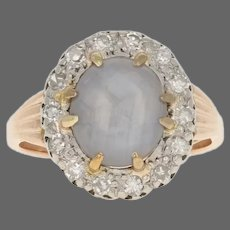 Rose Gold Star Sapphire & Diamond Vintage Halo Ring - 14k Oval Cabochon 5.52ctw