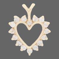 .40ctw Round Brilliant Diamond Heart Pendant - 10k Yellow Gold Love Gift