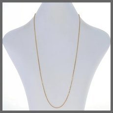 "Yellow Gold Box Chain Necklace 20"" - 14k Lobster Claw Clasp Women's"