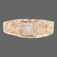 Yellow Gold Diamond Ring - 10k Round Brilliant Cut Accent Nugget Men's