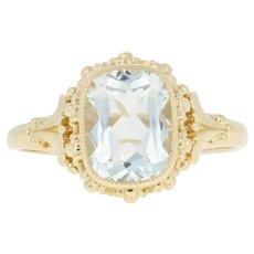 Yellow Gold Aquamarine Ring - 14k Solitaire 1.75ct Women's
