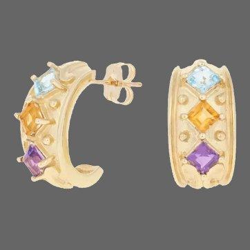 Yellow Gold Topaz, Citrine, Amethyst Earrings -10k Square 1.00ctw Pierced J-Hook