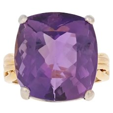 Yellow Gold Amethyst Ring - 18k Cocktail 19.60ct Solitaire