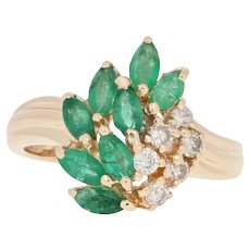Yellow Gold Emerald & Diamond Ring - 14k Marquise Cut .90ctw Cluster