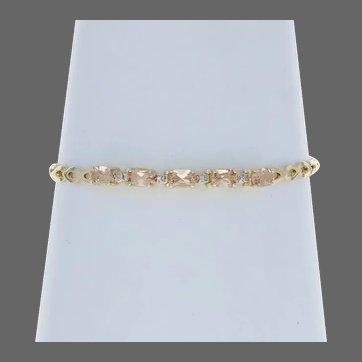 "Yellow Gold Topaz Bracelet 7 1/4"" - 14k Oval Cut 3.00ctw Diamond Accents Link"