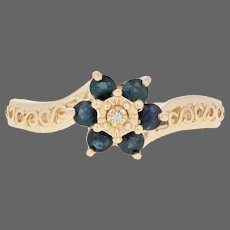 Yellow Gold Sapphire Ring - 14k Round .55ctw Diamond Accent Floral Halo Bypass