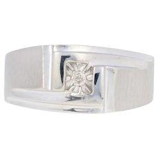 White Gold Diamond Ring - 10k Round Brilliant Cut Accent Men's