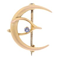 Yellow Gold Simulated Sapphire Edwardian Brooch - 10k Antique Wishbone Crescent