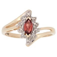 Yellow Gold Garnet Ring - 10k Marquise Cut .25ct Bypass w/ Diamond Accents