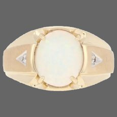 Yellow Gold Synthetic Opal Ring - 10k Oval Cabochon 2.00ct with Diamond Accents