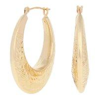 Yellow Gold Etched Oval Earrings - 14k Pierced Hoops