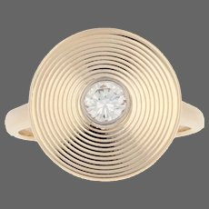 Cartier Diamond Ring Yellow Gold - 14k Round .25ct Converted Vintage Cufflink