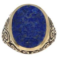 Yellow Gold Carved Lapis Lazuli Intaglio Ring - 9k Men's Heraldic Signet