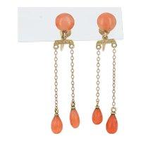 Yellow Gold Coral Edwardian Earrings - 10k Antique Non-Pierced Dangles