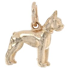 Yellow Gold Boxer Dog Charm - 14k Standing Canine Pet