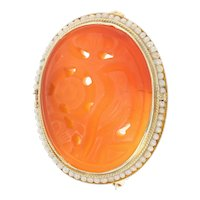 Yellow Gold Carnelian & Seed Pearl Vintage Brooch - 14k Carved Flowers Halo