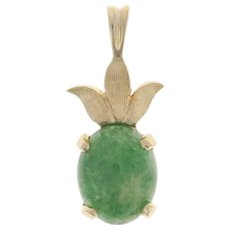 Yellow Gold Nephrite Jade Pendant - 14k Oval Cabochon Solitaire Botanical Leaves